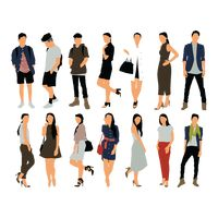 Set of people in various clothings