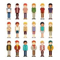 Set of pixel art men fashion icons