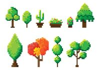 Set of pixel art tree icons