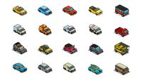 Set of pixel art vehicle icons
