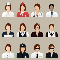 Set of professional women icons