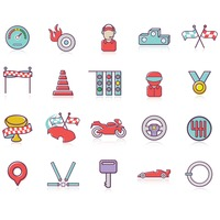 Set of racing themed icons