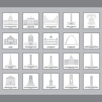 Set of usa landmark icons