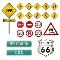 Set of usa road signs
