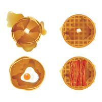 Set of waffles and pancakes