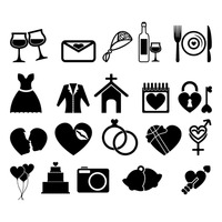 Set of wedding icons