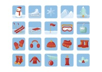 Set of winter icons