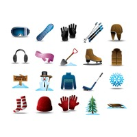 Set of winter items