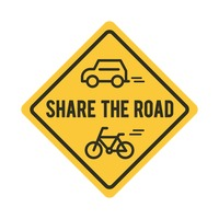 Share the road sign with bicycle and car
