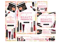 Shop now beauty products banners set