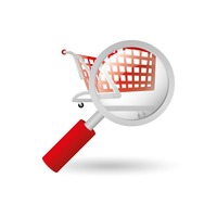 Shopping push cart and magnifying glass
