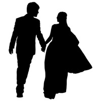 Silhouette of a wedding couple