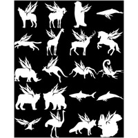 Silhouette of animals with wings