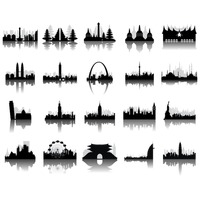 Silhouettes of famous monuments