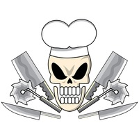 Skull with chef top hat and knives