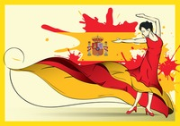 Spain flag with flamenco dancer