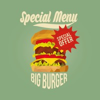 Special menu big burger design