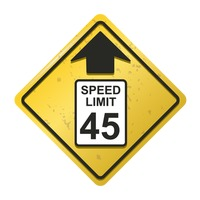 Speed limit 45 ahead sign