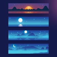 Sunset and moonlight banner set