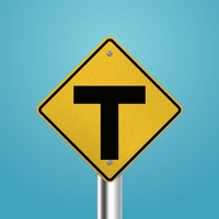 T intersection signboard