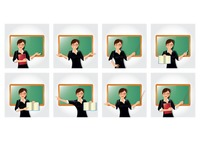 Teacher with different gestures collection
