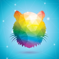 Tiger in rainbow colors