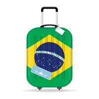 Travel suitcase with brazil flag