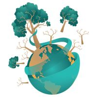 Trees with earth globe