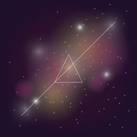 Triangle with line in starry sky