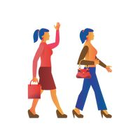 Two women walking with handbags