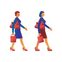 Two women walking with shopping bag and hand bag.