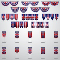 United kingdom flag pennants and buntings