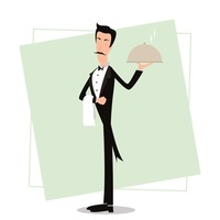 Waiter holding cloche
