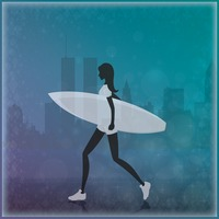 Woman holding surfboard