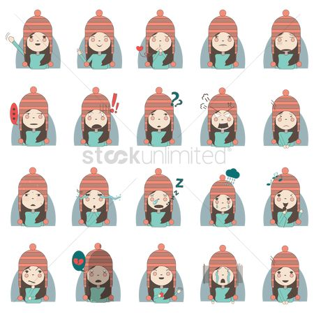 Cute : A set of girl emoticon in snow cap showing various facial expressions