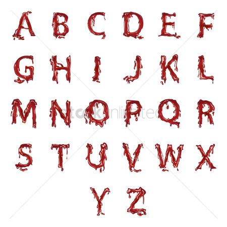 Vectors : Alphabets with dripping blood