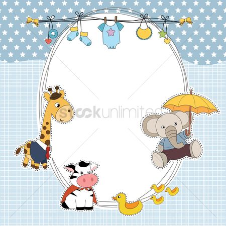 Animal : Baby shower card