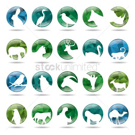 Vectors : Collection of animals icons