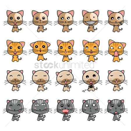 Cute : Collection of cat expressions