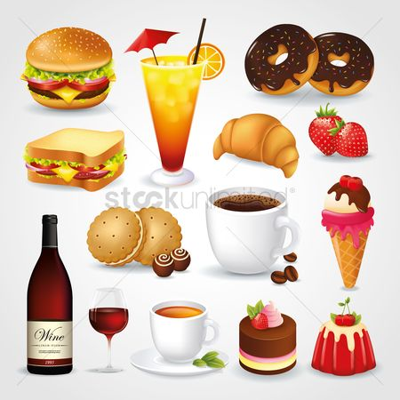 Vectors : Collection of food and drink icons