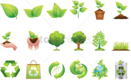 Tree : Collection of go green icons