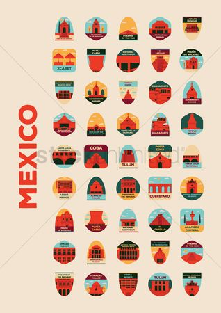 Buildings Landmarks : Collection of mexican landmarks