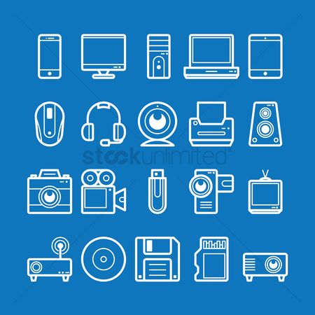 Music : Collection of technology icons