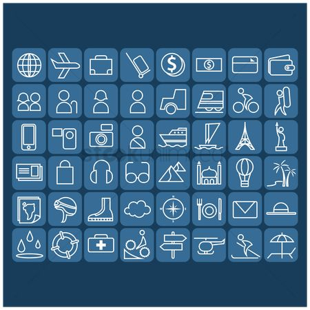 Shopping : Collection of travel icons