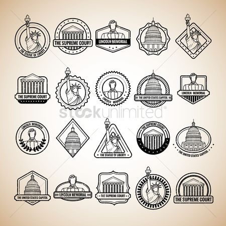 Buildings Landmarks : Collection of usa labels