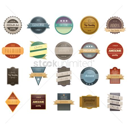 Ribbon : Collection of various labels