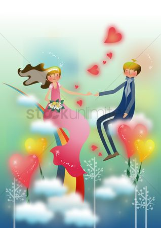 Romantic : Couple sitting on clouds
