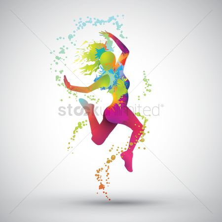 Girl : Dancing girl with colorful splashes