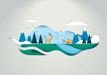 Birds : Deer in forest