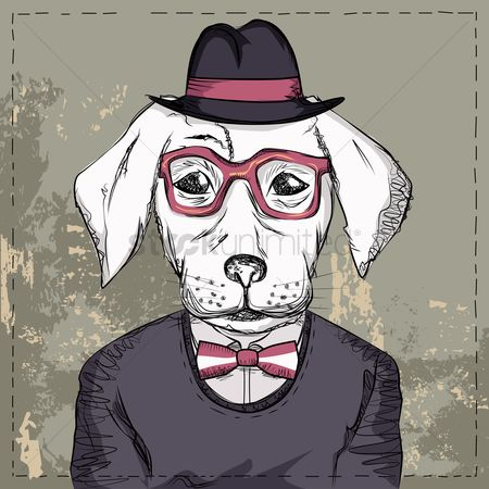 Vintage : Dog with glasses and bow wearing a hat